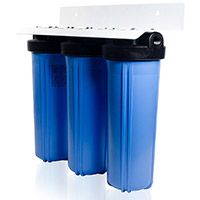 this 3stage whole house system is installed where the water supply enters the home it filters all of the household water and maintains high water